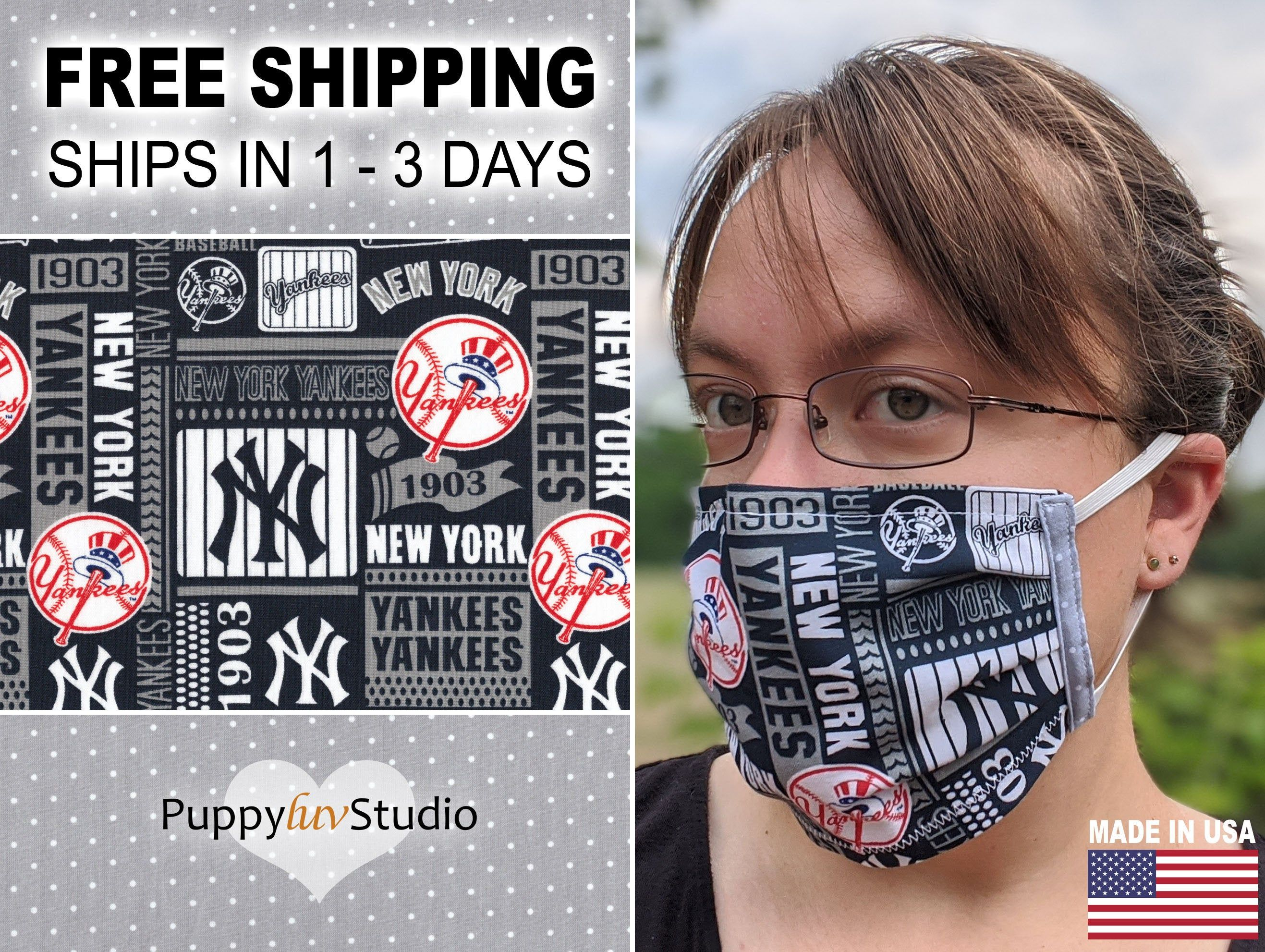 New York Yankees Cotton Face Mask With Nose Wire And Filter Etsy In 2020 Face Mask New York Yankees Face