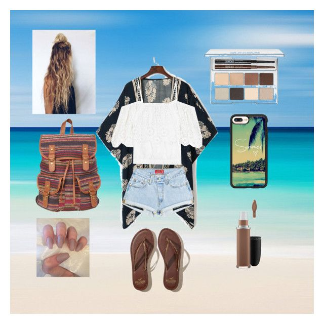 """beachy"" by mbsmptx ❤ liked on Polyvore featuring Casetify, Hollister Co., Ganni, Clinique and MAC Cosmetics"