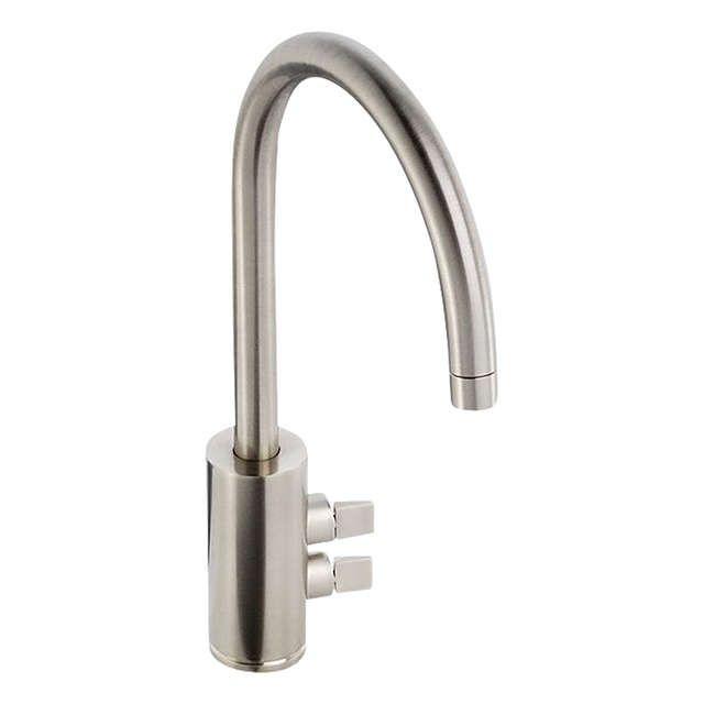 Abode Fliq 2 Lever Monobloc Kitchen Tap, Brushed Nickel | Brushed ...