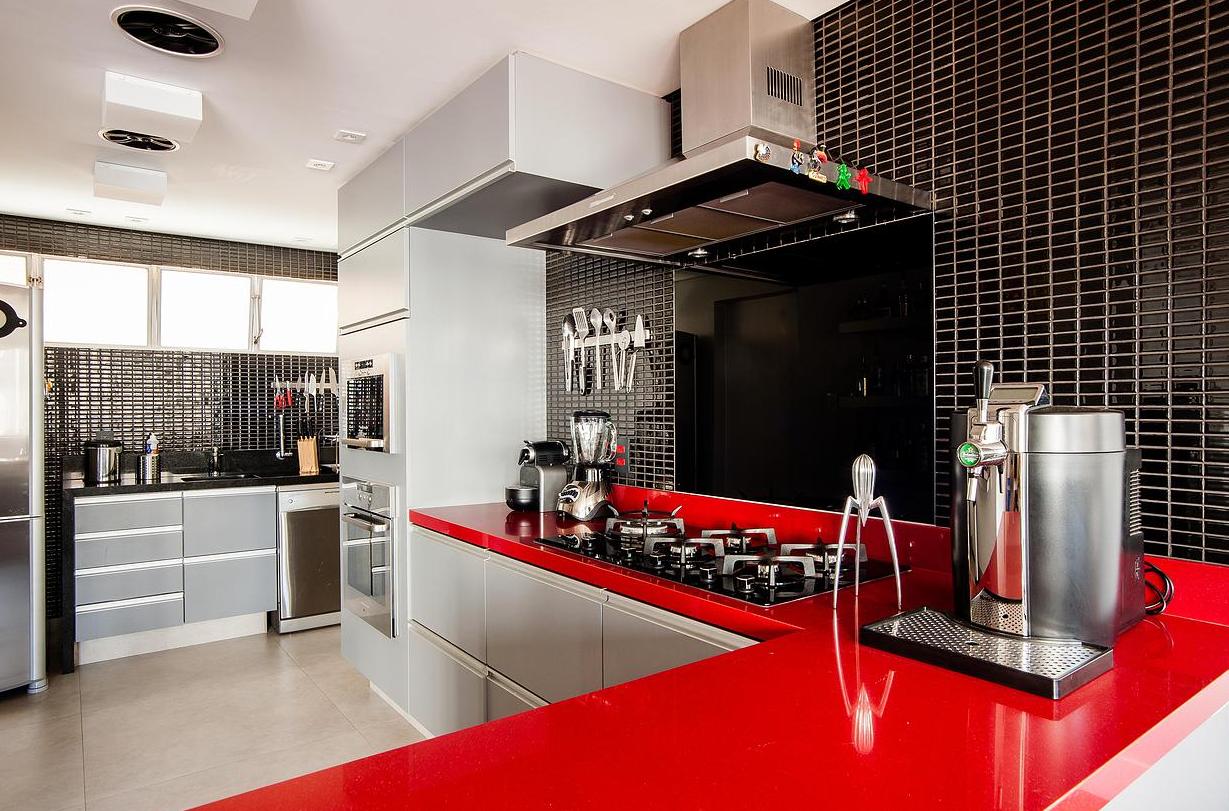 Cozinha Aberta Para A Sala Cozinhas Abertas Tons De Cinza E Cinza ~ Cozinha Cinza Com Vermelho