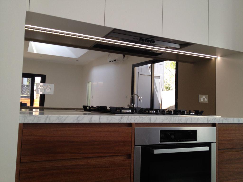 Splashbacks | Glass splashback, Kitchen renovation, Mirror ...