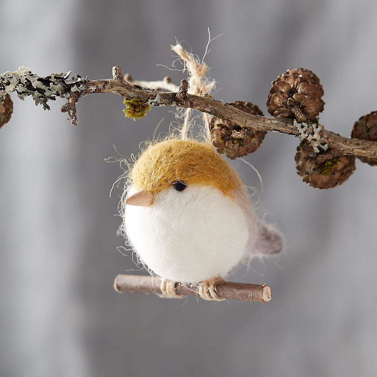 Felt Bird on a Branch Ornament #feltbirds