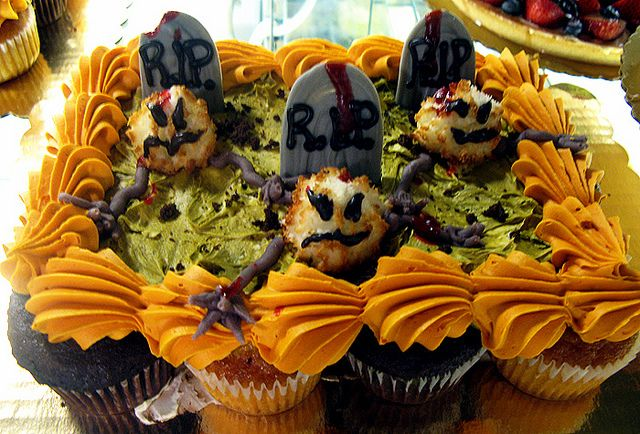 Halloween Zombie Graveyard Pull Apart Cupcake Cake by Tony Albanese - wilton halloween cupcake decorations