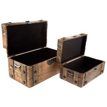 Antique Brown Lined Wood Box Set with Metal Bands