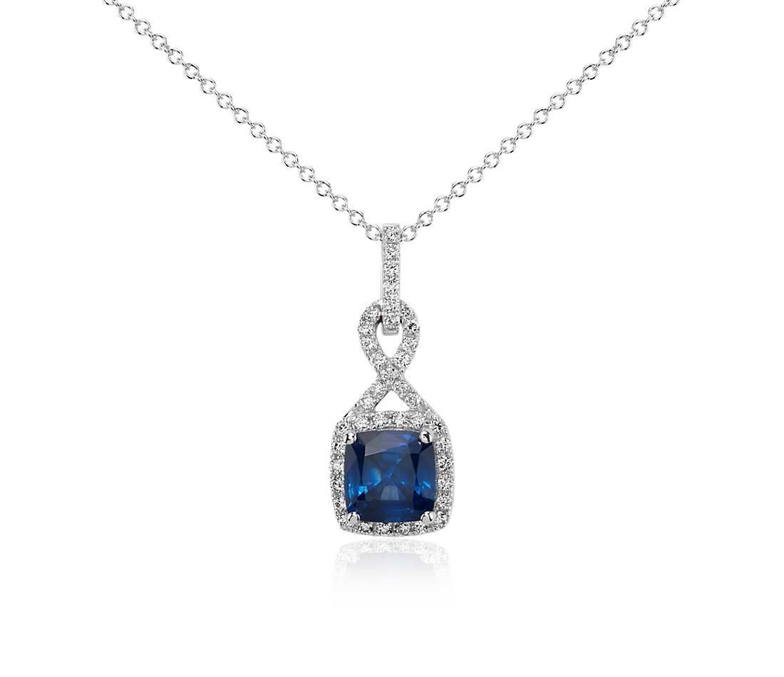 Cushion cut sapphire and diamond halo twist pendant in 18k white blue nile cushion cut sapphire and diamond halo twist pendant in 18k white gold aloadofball Choice Image