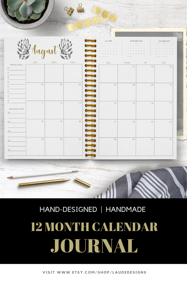 Calendar Notebook 2020 Moonlight Calendar Journal / Notebook / 2019 Monthly Calendar