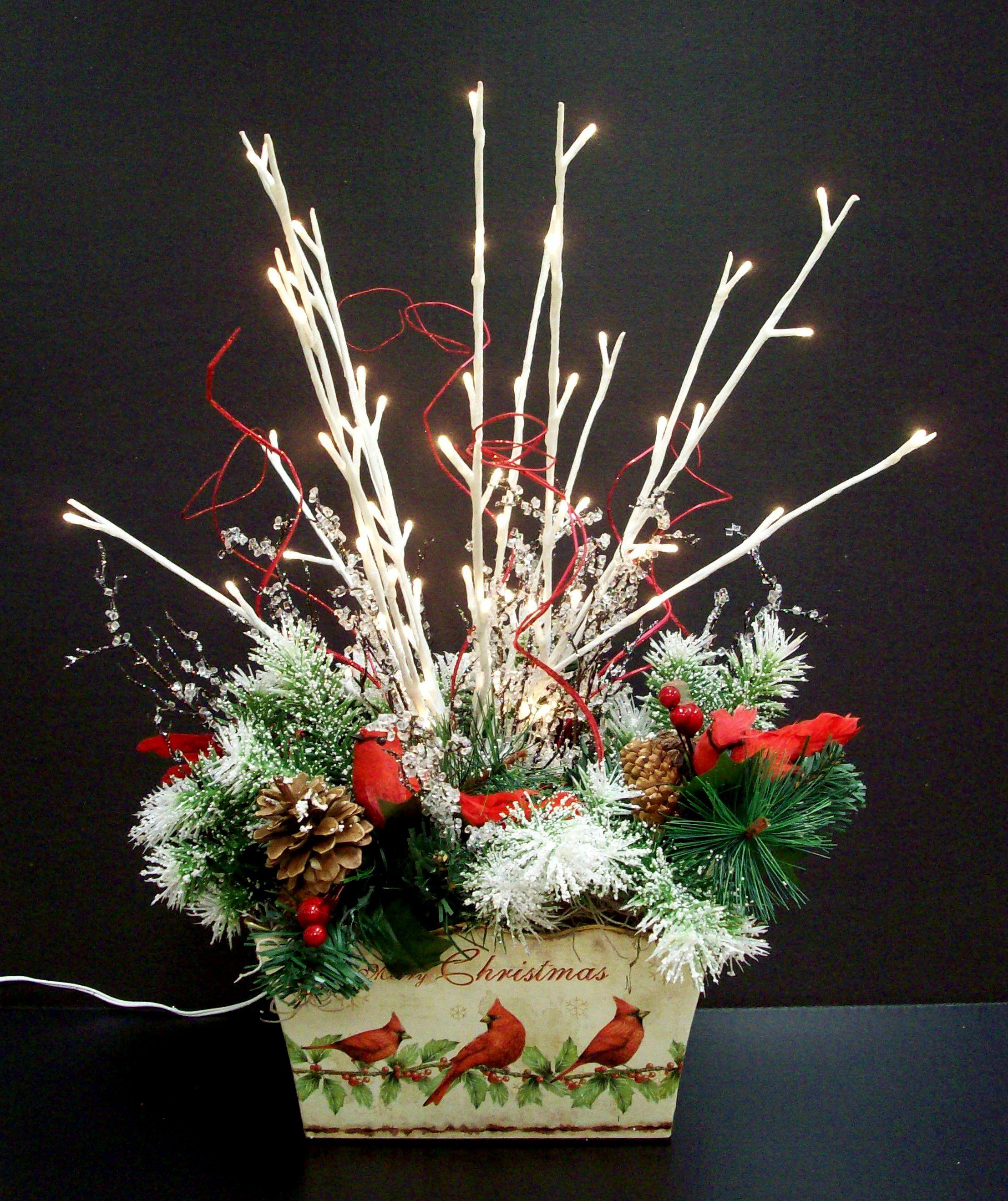 Christmas cardinal arrangement designed by karen b a c for Michaels craft store erie pa