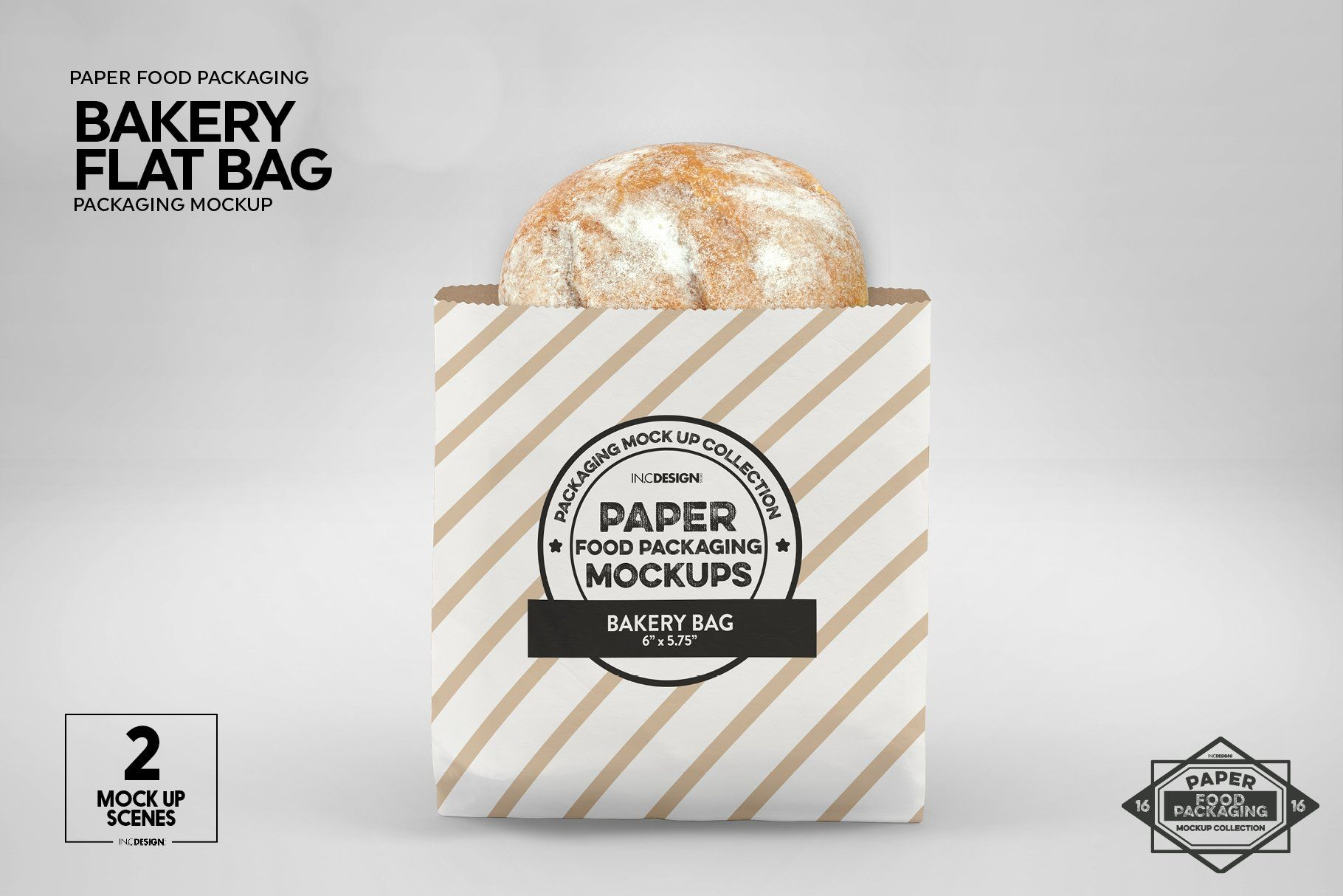Download Flat Bakery Bags Packaging Mockup Bakery Bags Food Box Packaging Packaging Mockup