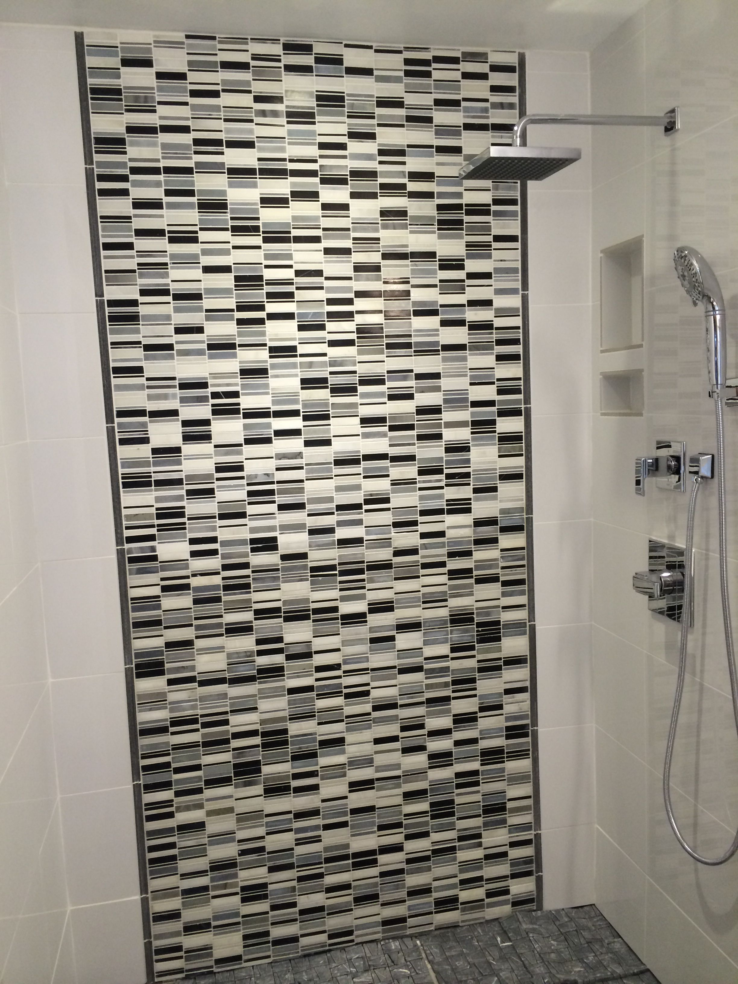 Our Master Shower White Glossy Porcelain 12 X 24 Tile On The End Walls Grey Black And White Mo White Porcelain Tile Black And White Marble White Tiles