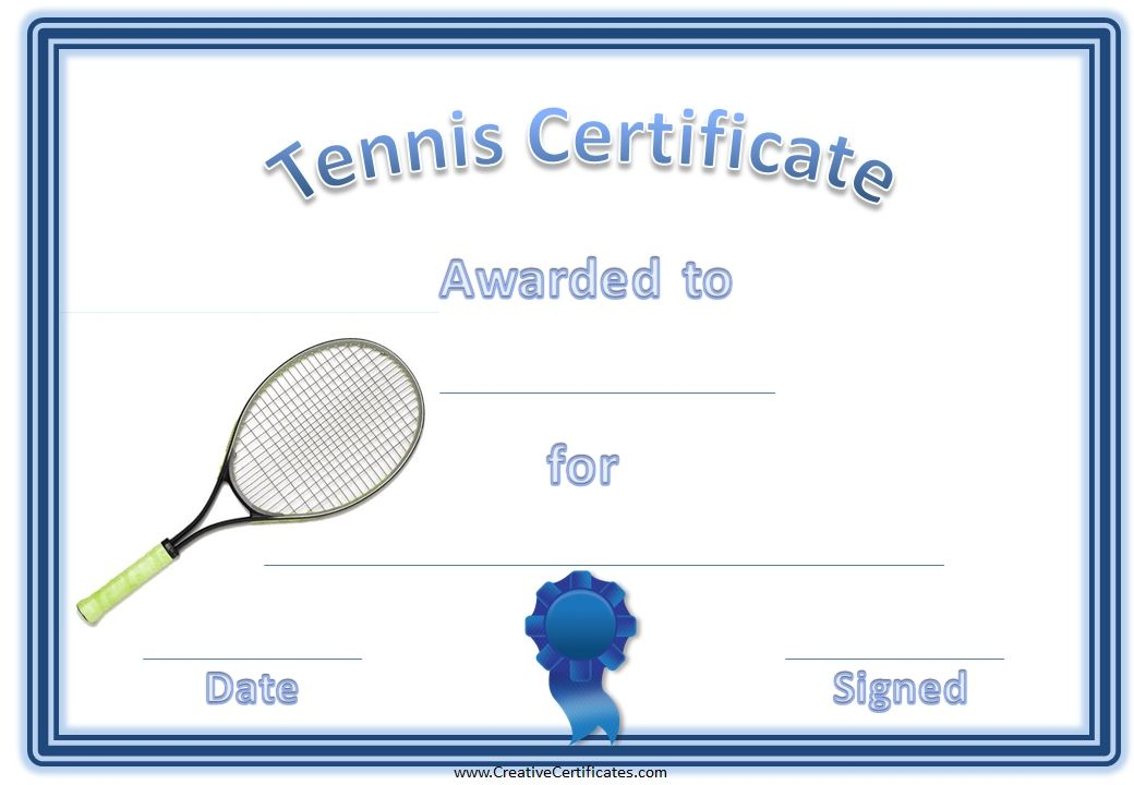 Tennis awards 4g 1040720 twnnis 1 pinterest a variety of free printable tennis certificate templates many more free sports awards and award certificates on this site yelopaper Gallery