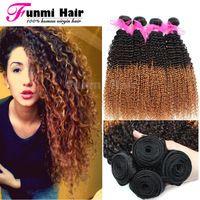 New Arrival Unprocessed Brazilian Virgin Hair Kinky Curly 4PC lot Ombre Human Hair &1B# Color Hair 7A Rosa Curly Brazillian Hair