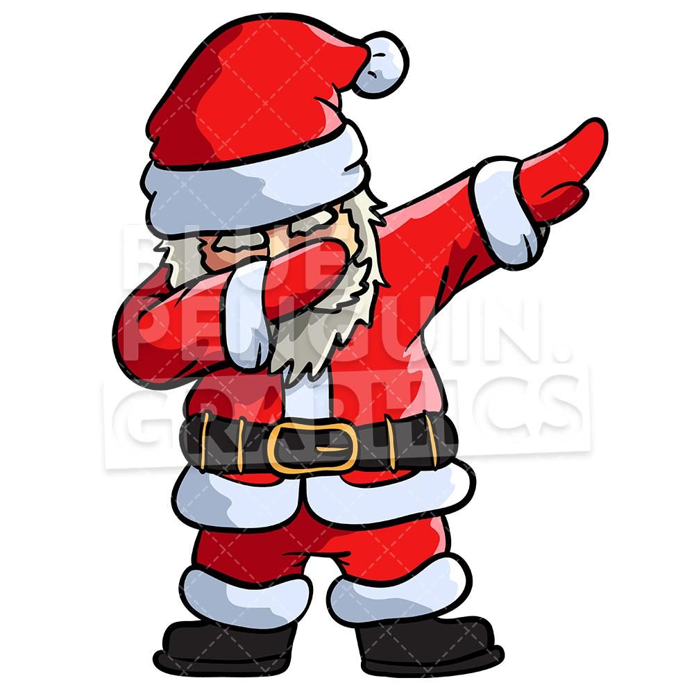 Santa Dabbing Christmas Vector Cartoon Clipart Illustration