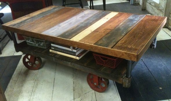 Industrial Cart On Wheels Table Industrial Cart Coffee Table Yellow Chair Market Pallet