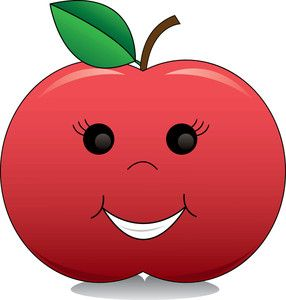 Apple Clipart Image: Cartoon Apple With a Smiling Face