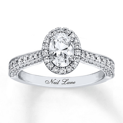 98d04a43d Neil Lane Engagement Ring 1-3/8 ct tw Oval-cut 14K White Gold ...