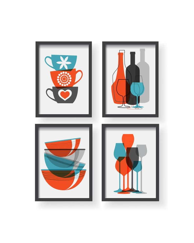 Orange Blue Gray Kitchen Poster Set Kitchen Decor Kitchen Wall