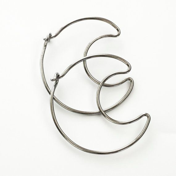 1 Pair Over The Moon Hoop Earrings 12 Gauge Stainless Steel Earrings Artisan Earrings Moon Hoops