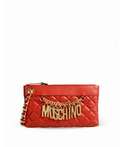Moschino Biker Jacket Women Red Leather Clutches Wallet