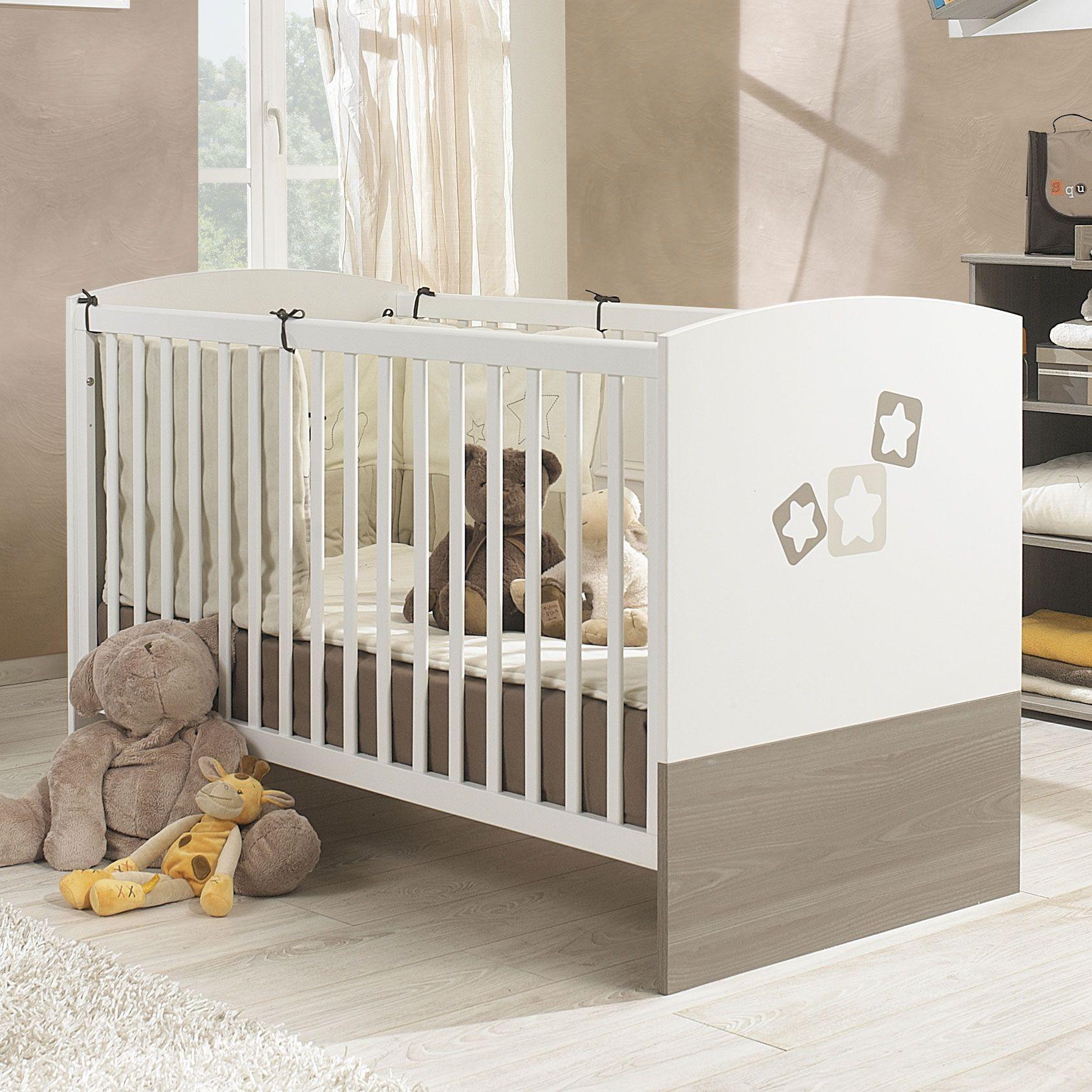 Lit bébé évolutif bois blanc frªne gris avec motifs NOE Galipette