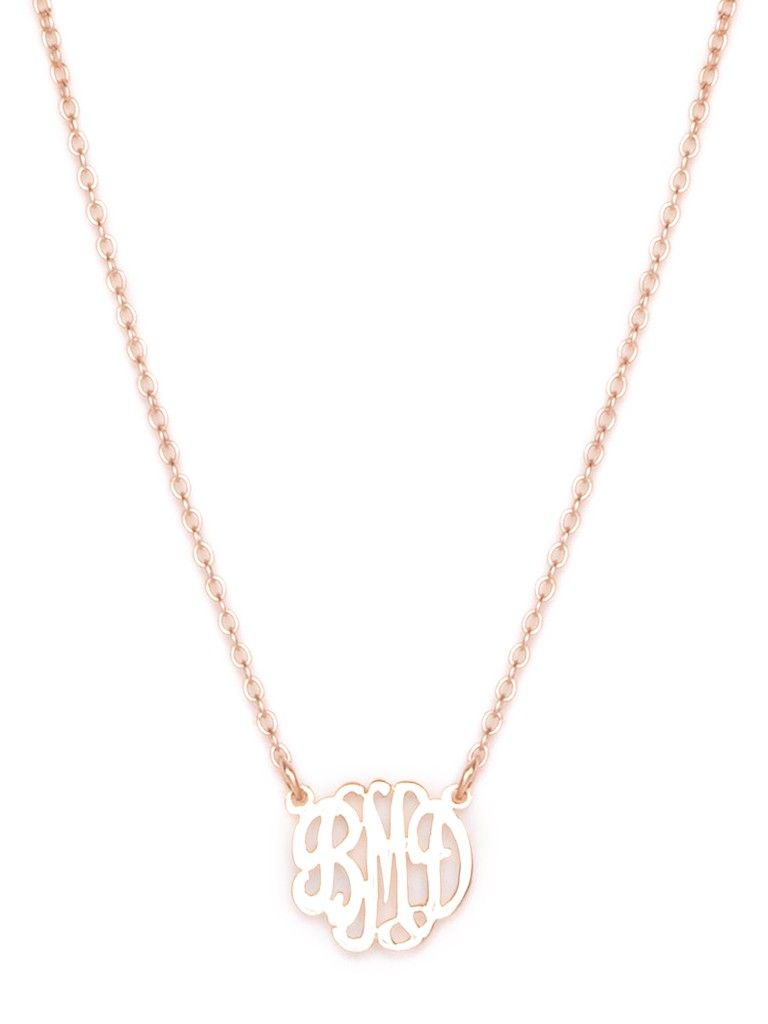 Mini Monogram Necklace In Rose Gold