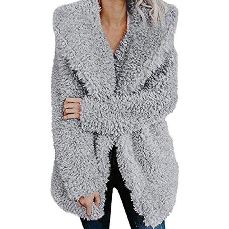 Womens Hoodie Pocket Zip Up Fleece Jacket Casual Fuzzy