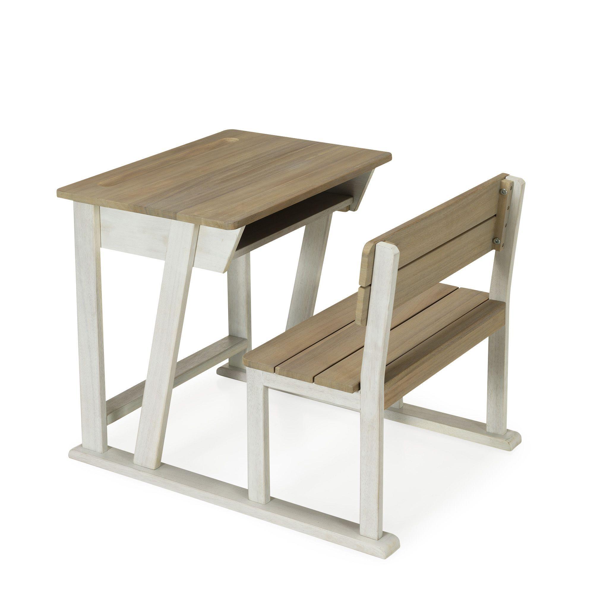 bureau d 39 colier pour enfant en acacia teck blanc jules les bureaux enfants meubles d. Black Bedroom Furniture Sets. Home Design Ideas