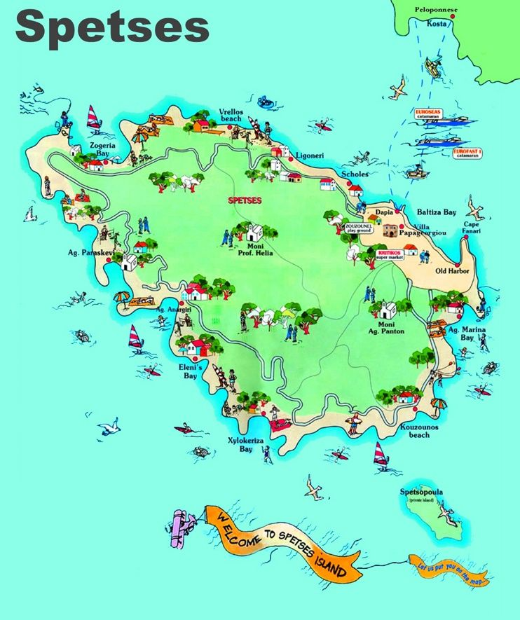 Spetses tourist map Maps Pinterest Tourist map and Greece islands