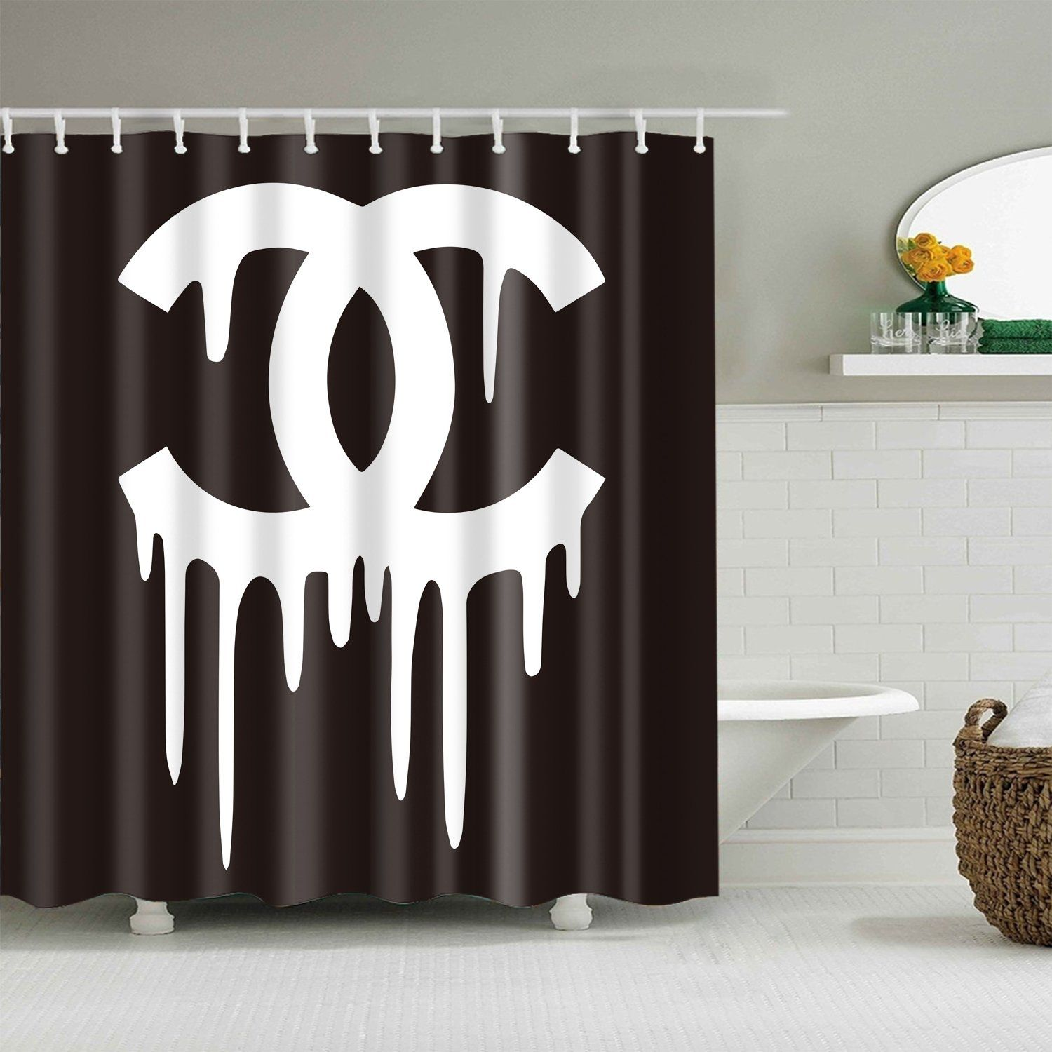 Bleeding Chanel Black White Shower Curtain Black White Shower