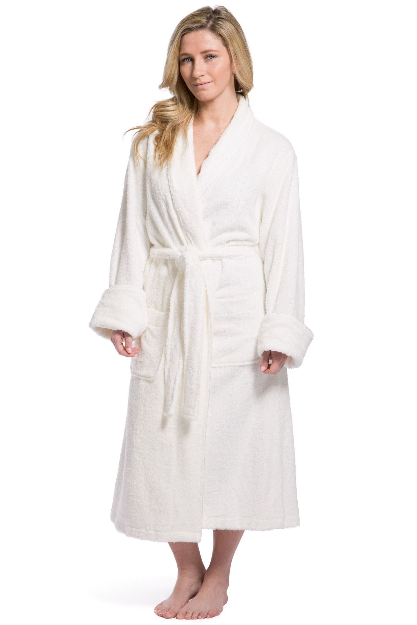 6aa51c672e Women s Resort   Spa Style Bamboo Terry Robe  Full Length with Rolled Cuff