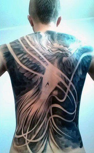 40 phoenix back tattoo designs for men flaming bird. Black Bedroom Furniture Sets. Home Design Ideas