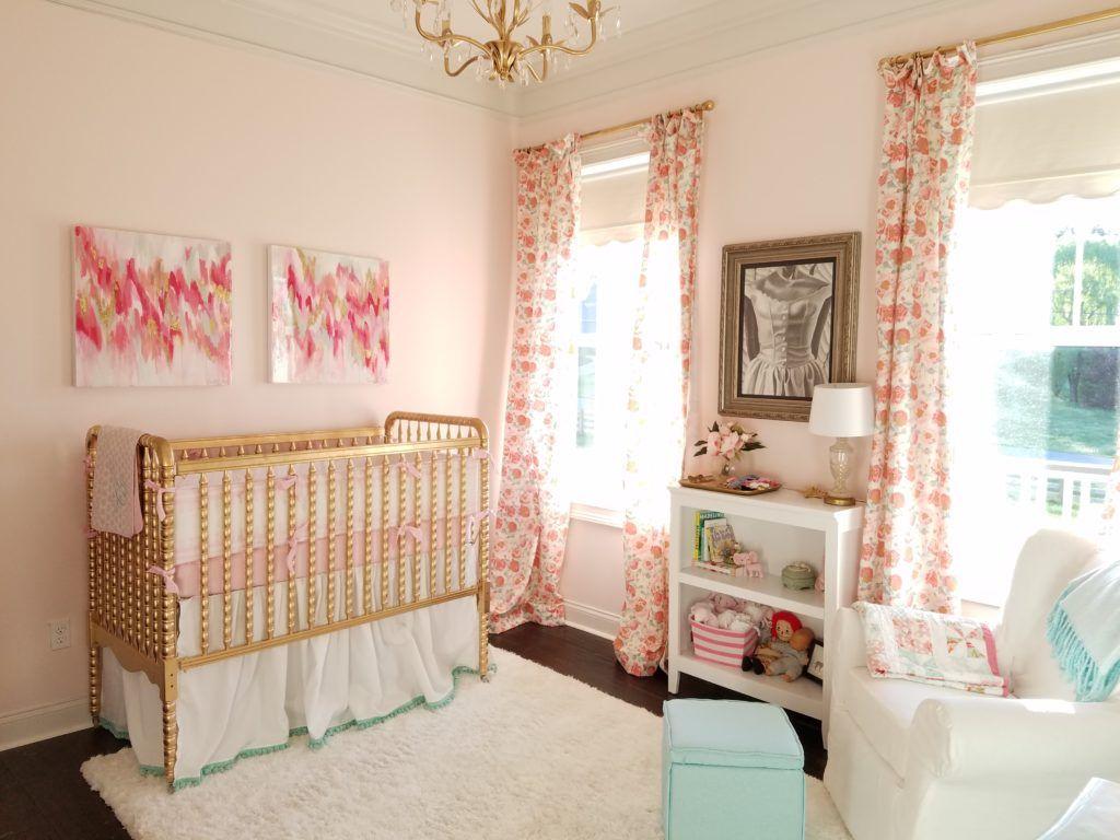 Pink, Mint and Gold Nursery Gold nursery, Floral nursery