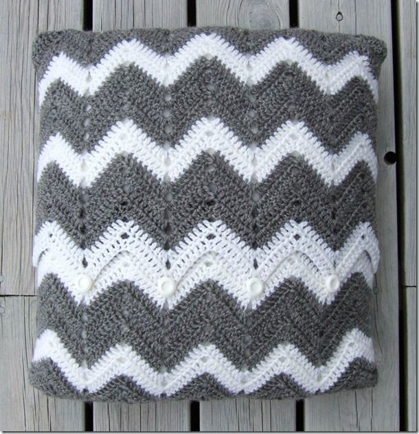 actual pattern for a crochet chevron pillow cover | TAPETES, CUADROS ...
