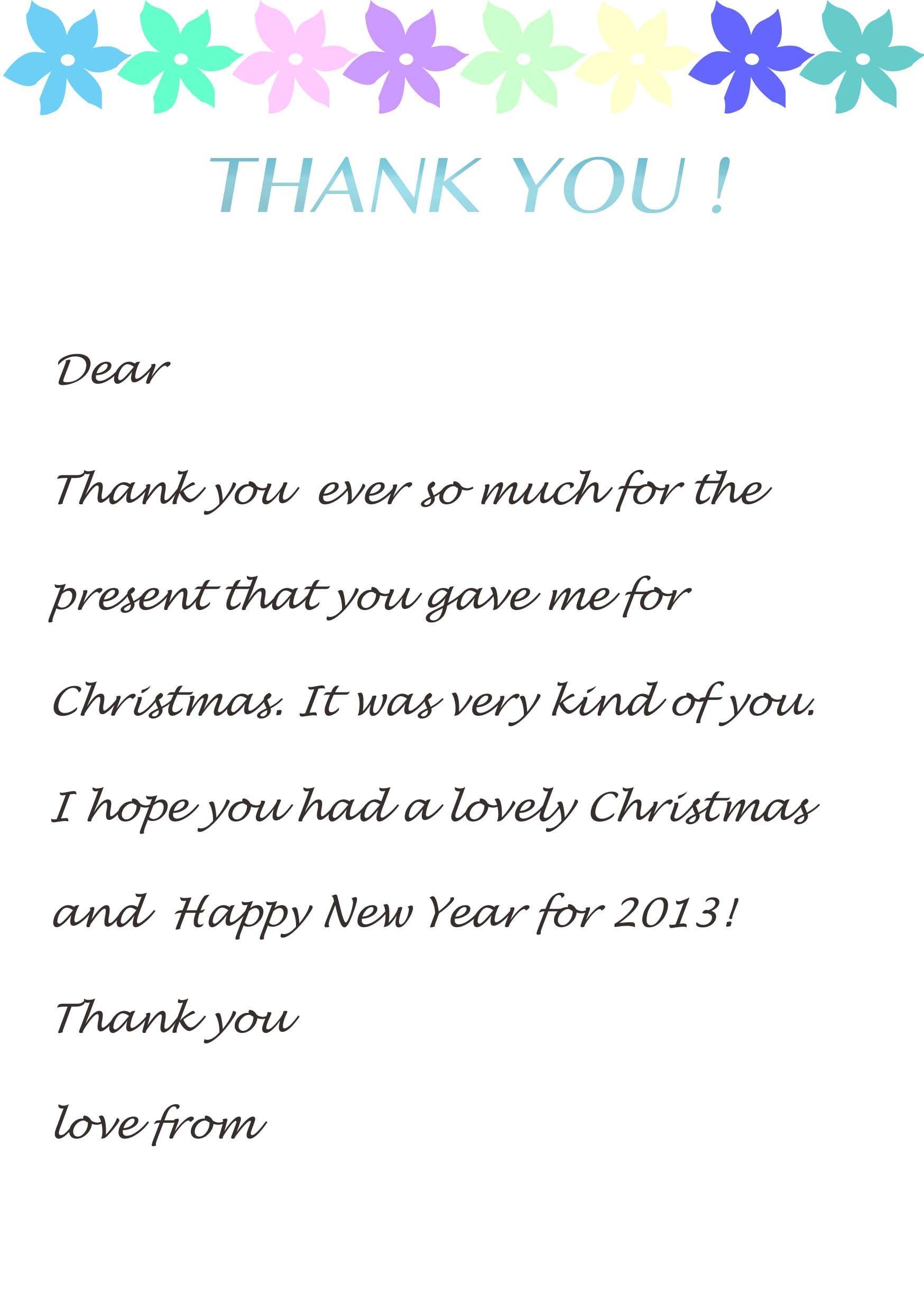 Thank You Letter Template For Kids  Christmas Fun