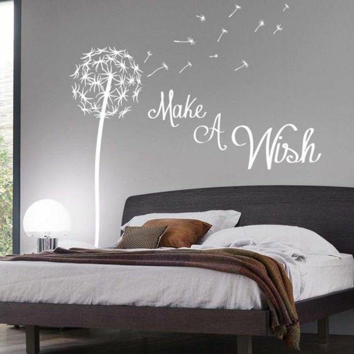 schlafzimmer dekorieren wandsticker graue wand bett - deko schlafzimmer wand