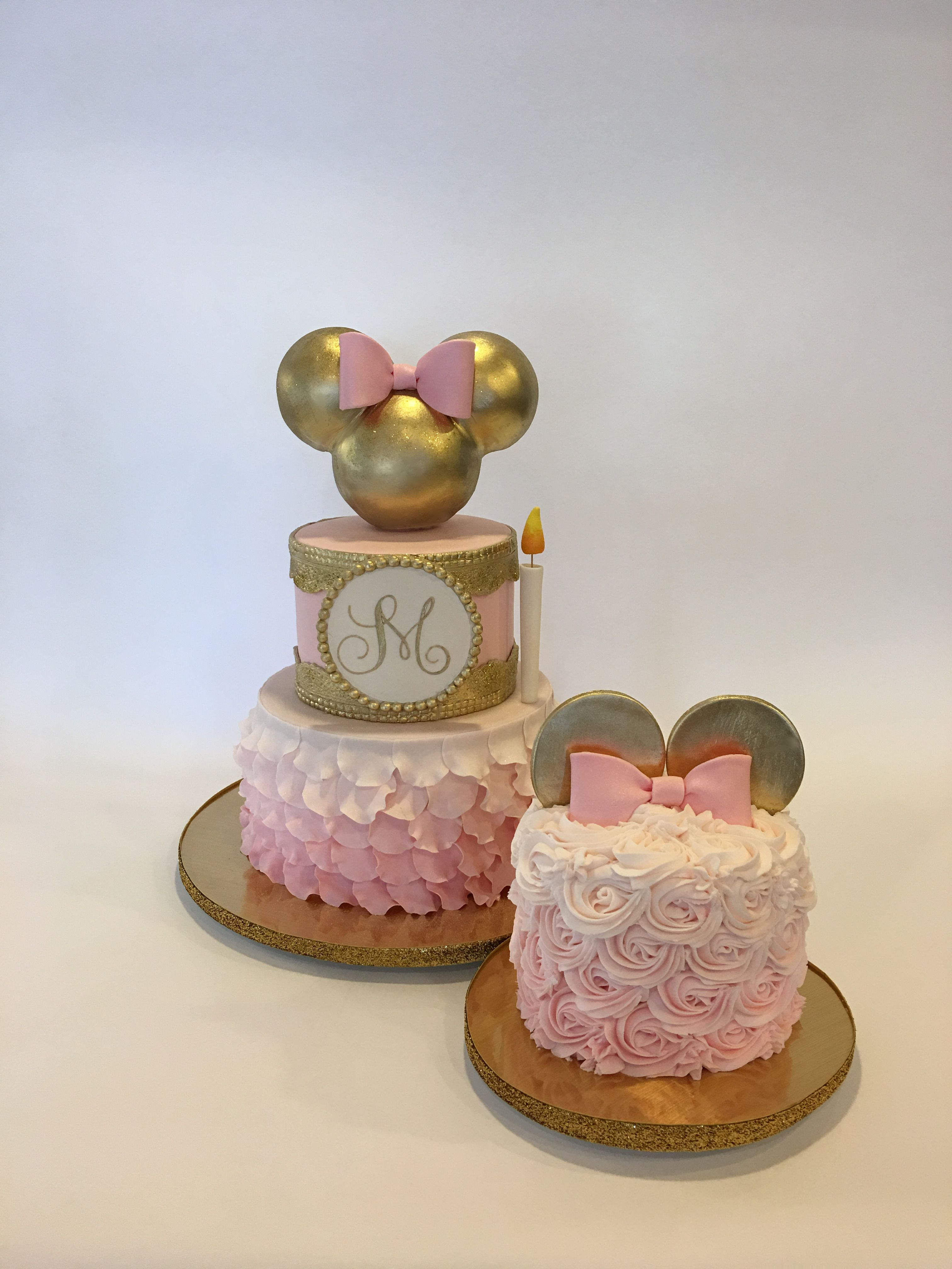 1st Birthday Gold And Pink Minnie Cake And Smash Cake Minnie Mouse Birthday Cakes Minnie Cake Minnie Mouse Birthday Party
