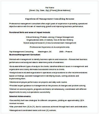 Experienced Management Consulting Resume , Management Consulting ...