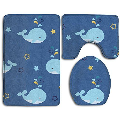 Pleasant Bath Mat 3 Piece Bathroom Rug Set Cartoon Whale Flannel Non Gmtry Best Dining Table And Chair Ideas Images Gmtryco