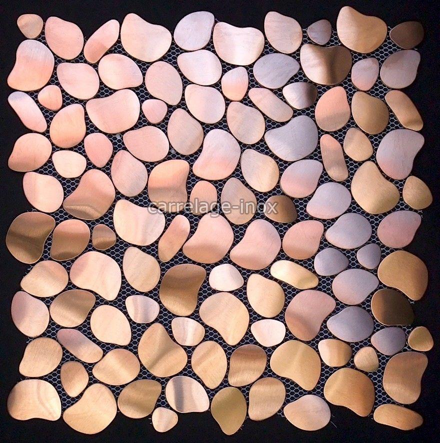 carrelage inox mosaique plan travail cuisine galet cuivreTaille des