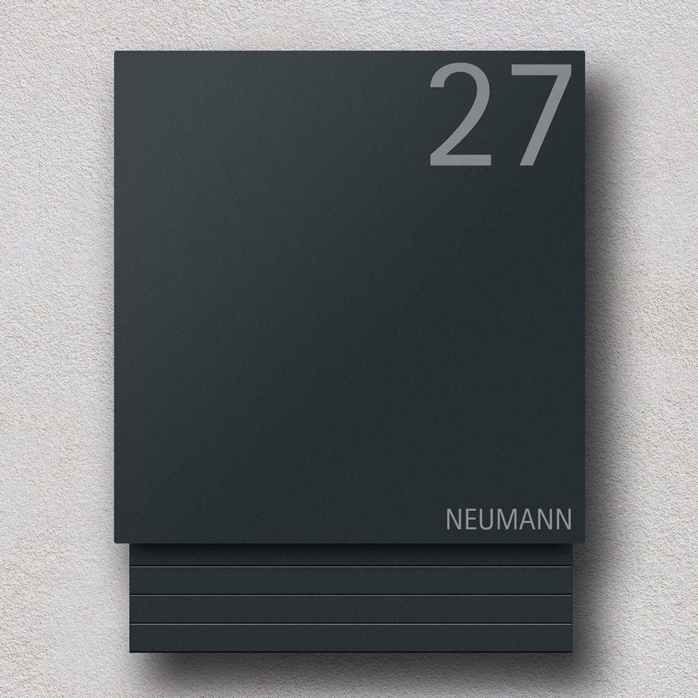 Briefkasten Edelstahl B1 Light Number 7016. Kompaktes, modernes und zeitloses Design. Briefkasten und Zeitungsfach bilden eine Einheit und machen den B1 Light zu einem optischen Highlight. Inklusive eingravierter Hausnummer. #dekoeingangsbereichaussen