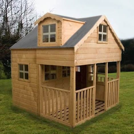 Large 2 Storey Playhouse Dorma Windows Front End Veranda Kid S Garden House Kids House Garden Play Houses Wendy House