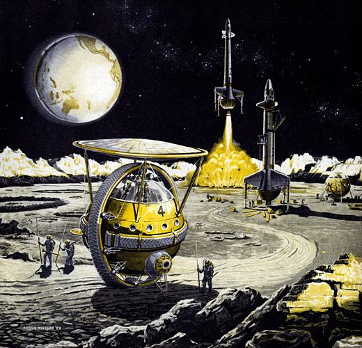 As Presented in Fortune: Lunar Unicycle (cover art) - http://www.georgeglazer.com/prints/industry/boschsat.html   Illustrator: Frank Tinsley - http://www.pulpartists.com/Tinsley.html