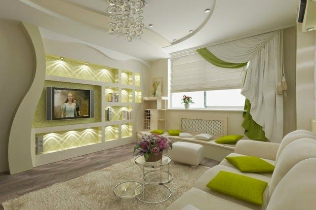 Modern Living Room With False Ceiling Designs And Wall Pop Designs