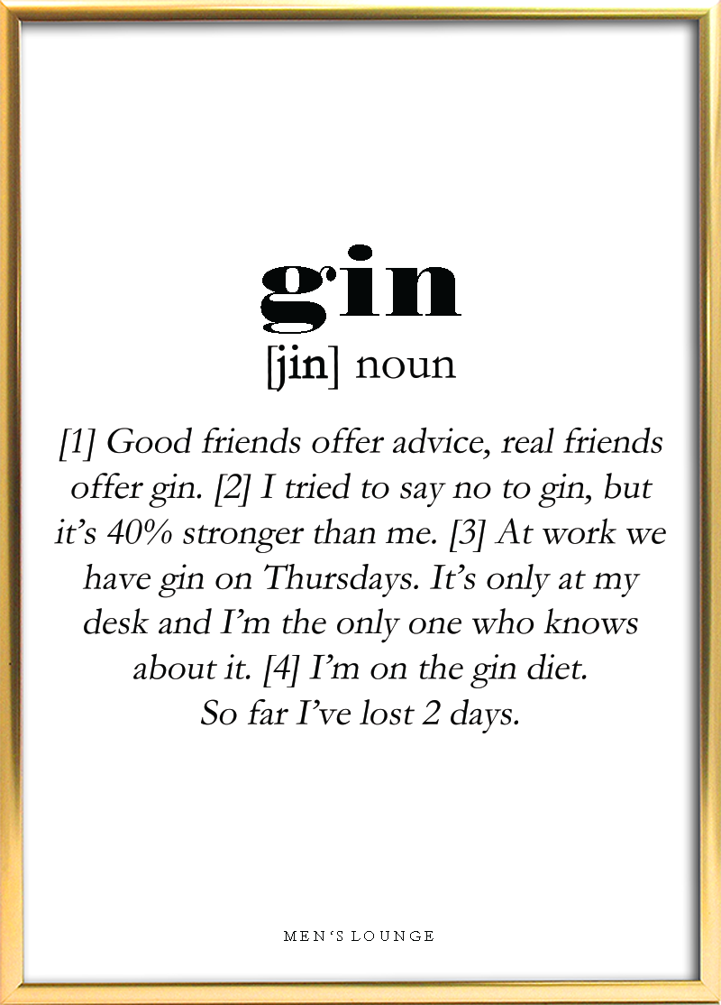 A Funny Gin Definition As A Poster Can Be Bought From Men S Lounges Webshop Which Is Linked In The Profile Go Visit It To Check Out Our Other Coo Spruche Gin