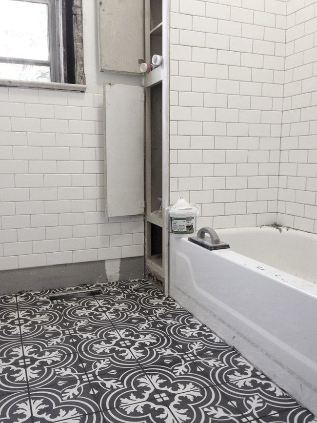 Installing Merola floor tile and subway tile walls in a black and ...