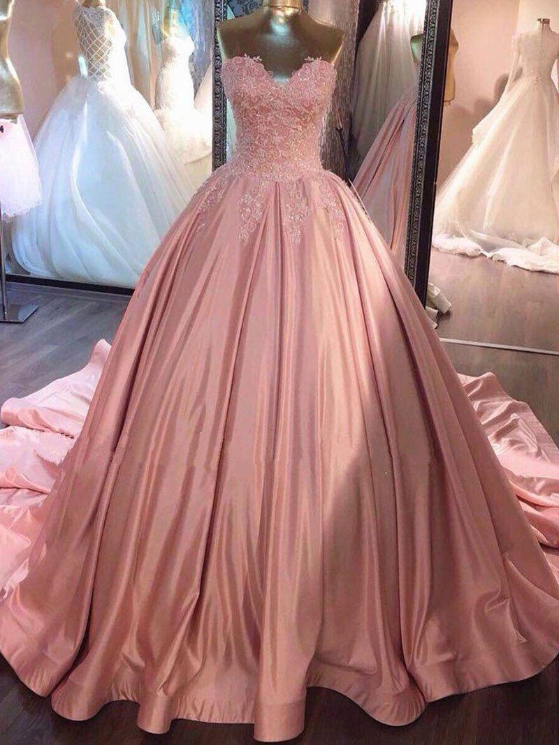 Ball Gown Prom Dresses Sweetheart Sweep/Brush Train Satin Prom Dress ...