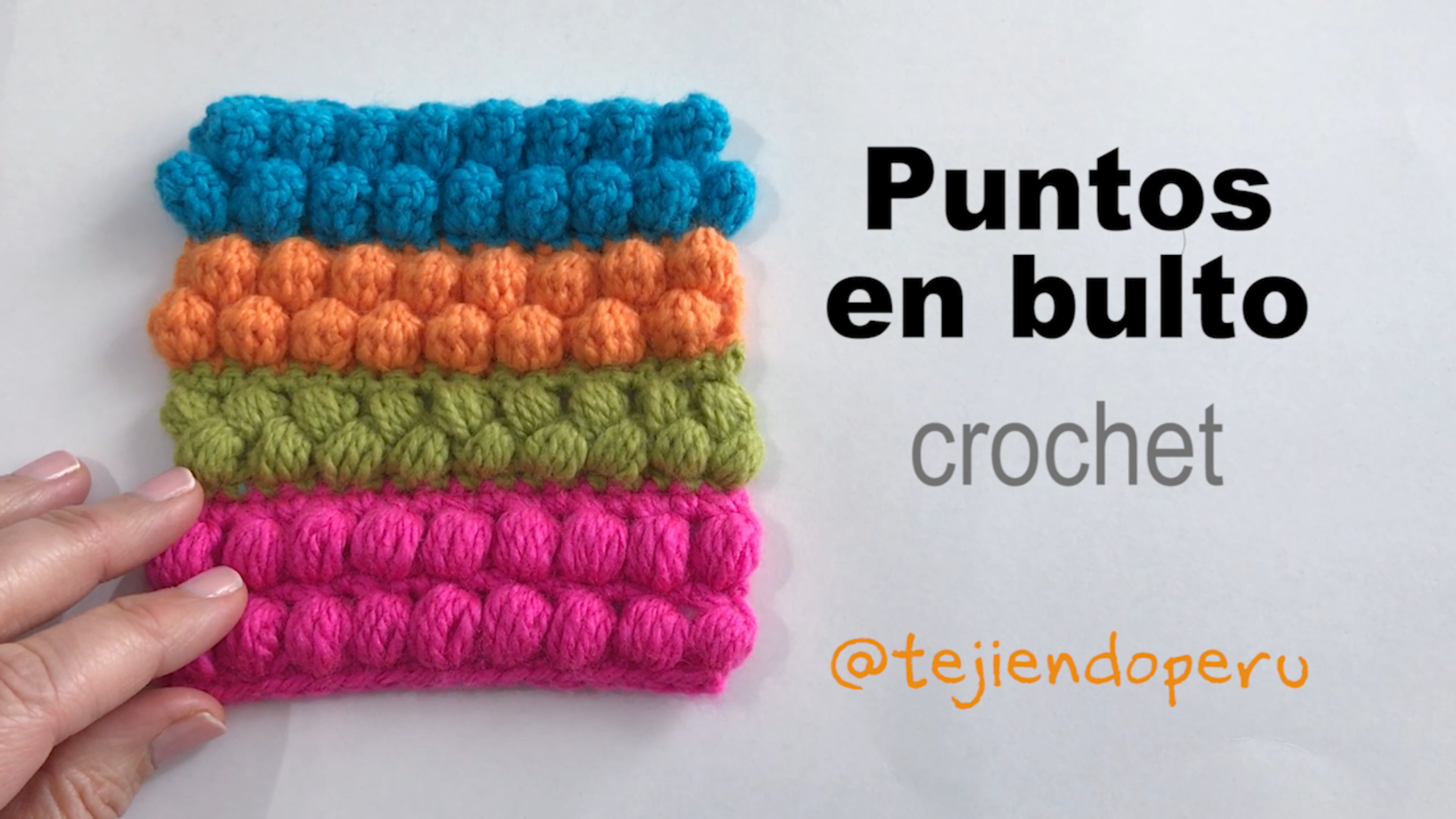 Puntos en bulto a crochet: puff, frijol, piña y popcorn. Todos en un ...