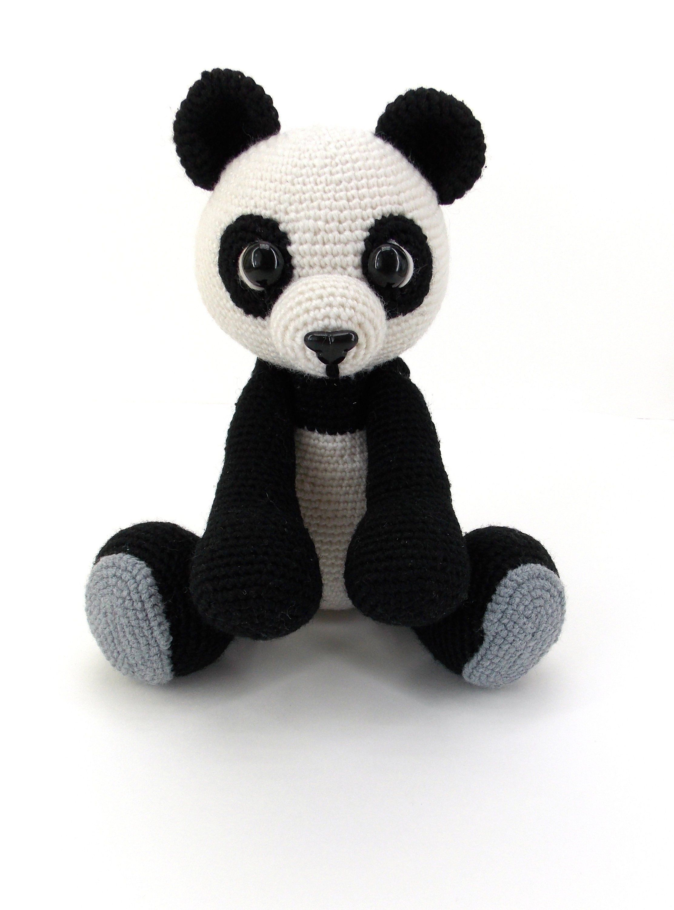 Crochet panda. Black and white teddy bear. Knitted toy bear. A birthday present for a child. A gift to her sister for mother's day. Big toy.-#Bear #big #birthday #black #child #crochet #Day #gift #knitted #Mothers #panda #present #sister #teddy #Toy #white #crochetbear