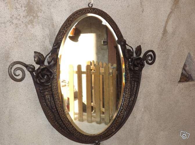 Ancien miroir fer forgé art déco martelé Décoration Haut-Rhin