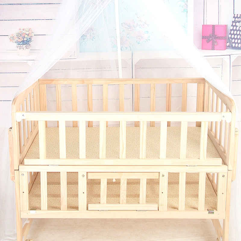 278.10$  Watch here - http://aliglq.worldwells.pw/go.php?t=32705855973 - Solid Wood Baby Bed Multifunctional Baby Crib Newborn Sleeping Crib Rolling Wheel Baby Cradle Large Space Baby Game Bed C01 278.10$