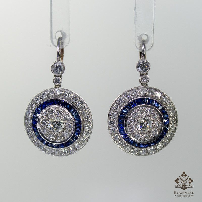 Antique Art Deco Platinum Diamond & Sapphire Earrings